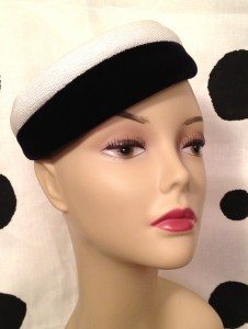 Vintage white straw and black velvet pillbox hat