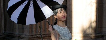 The umbrella is fun but it detracted from the dress so I didn't use this photo for the contest.