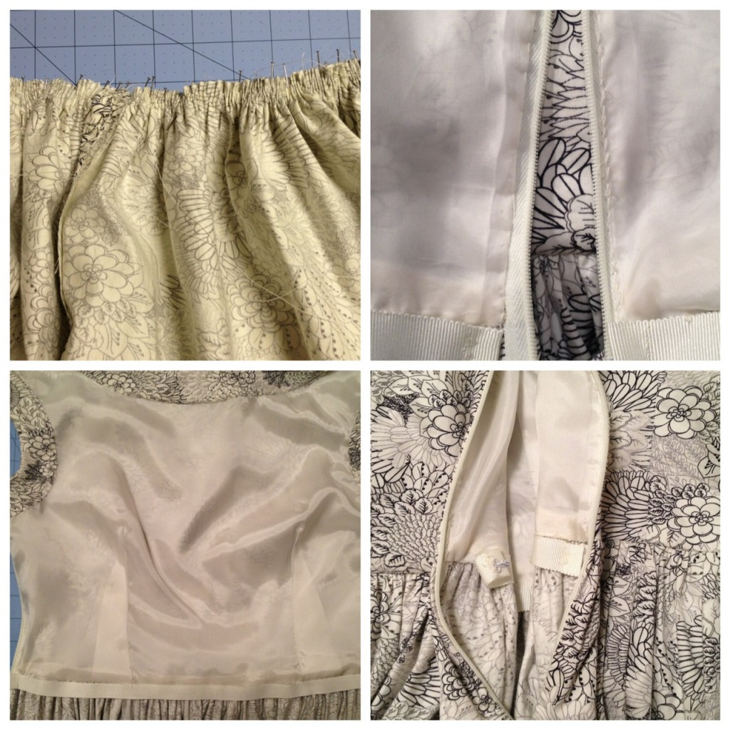 Clockwise from top left: Gathering the skirt, detail of hand sewing the lining around the invisible zipper, the hook and waist stay near the zipper, waist stay attached to bodice