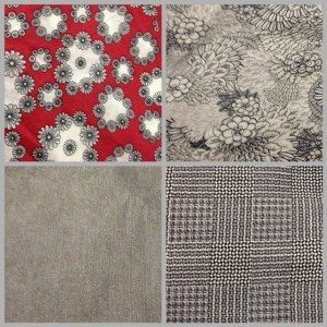 Clockwise from top left: cotton voile, cotton sateen, wool crepe, denim