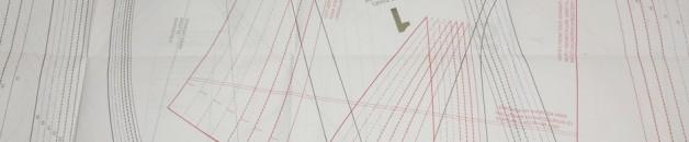 Patterns in BurdaStyle Sewing Vintage Modern are printed in red and black ink.