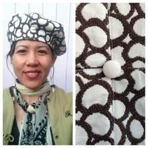 Day 24: I wore my hat again. I used an upholstery fabric sample. The pattern is by Patricia Underwood for Vogue.