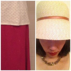 Day 26: Handsewn knit skirt. Hat: straw with a leather band