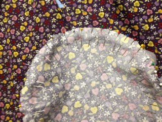 Lining fabric pinned