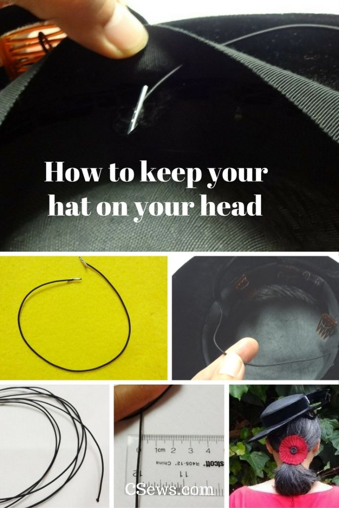 How to keep your hat on your head with hat elastics - DIY, hats, millinery - CSews.com