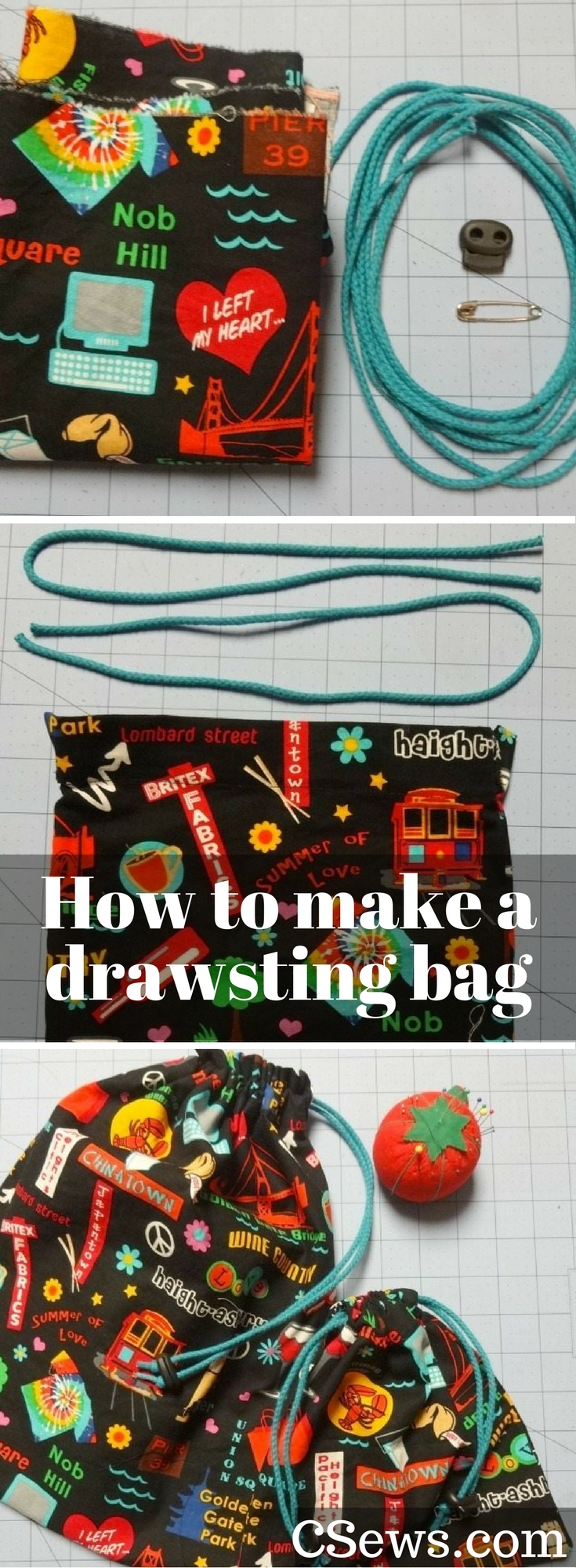 Tutorial: How to make a double- and single-drawstring bag