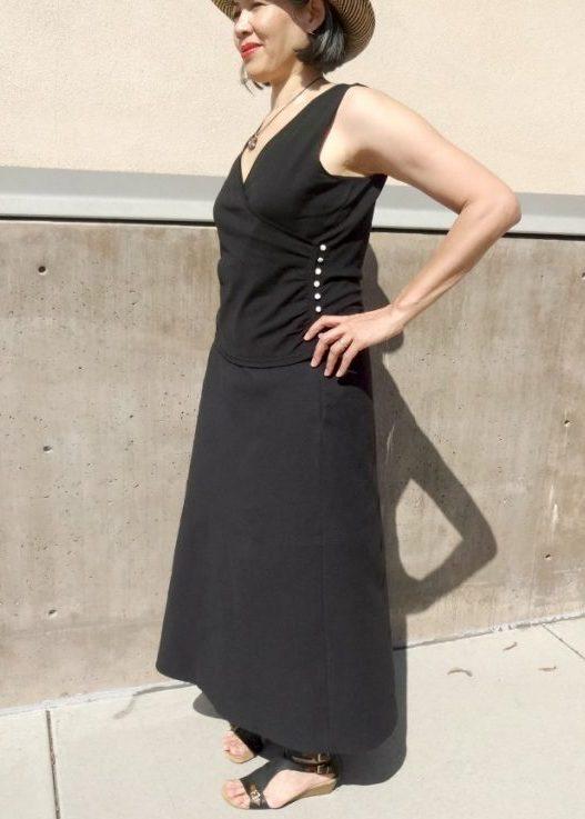 Basic Black A-line block skirt