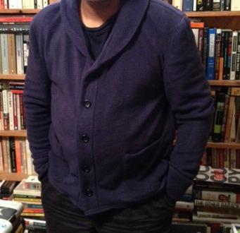 Newcastle cardigan - Thread Theory - blue fleece - csews.com