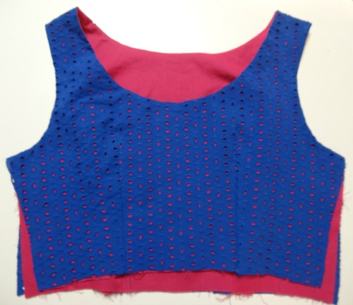 Bodice with lining attached