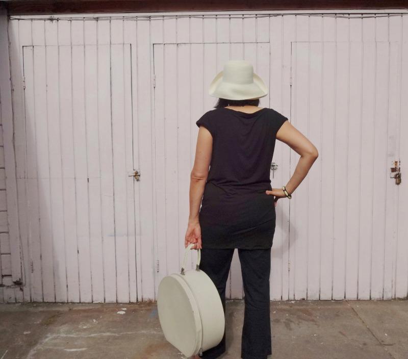 Draped Mini - back - white hat - She Wears the Pants - csews.com