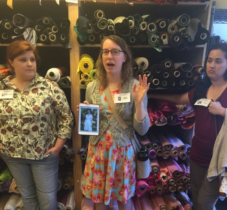 Emily talking about cutting silk charmeuse - Bay Area Sewists - csews.com