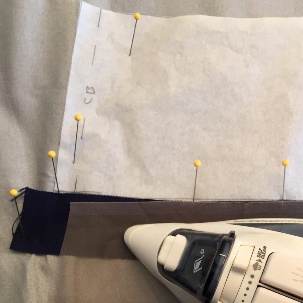 Pressing Petersham ribbon using organza as press cloth