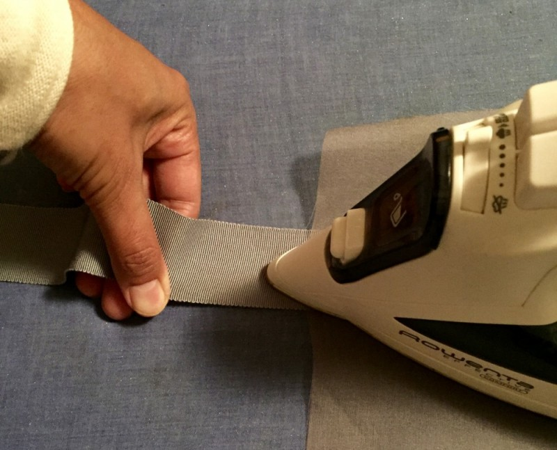 How to make a removable ribbon hat band - pressing the Petersham ribbon - tutorial, millinery