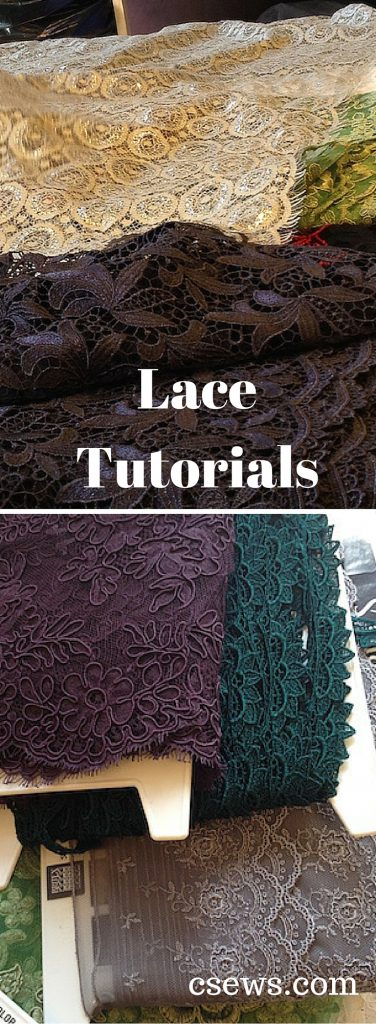 Lace tutorials - a resource list compiled by Natalie of Britex Fabrics - lace seams and finishes, lace embellishments, heirloom sewing, lingerie lace