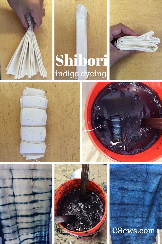 Shibori - Indigo dyeing - pleating fabric
