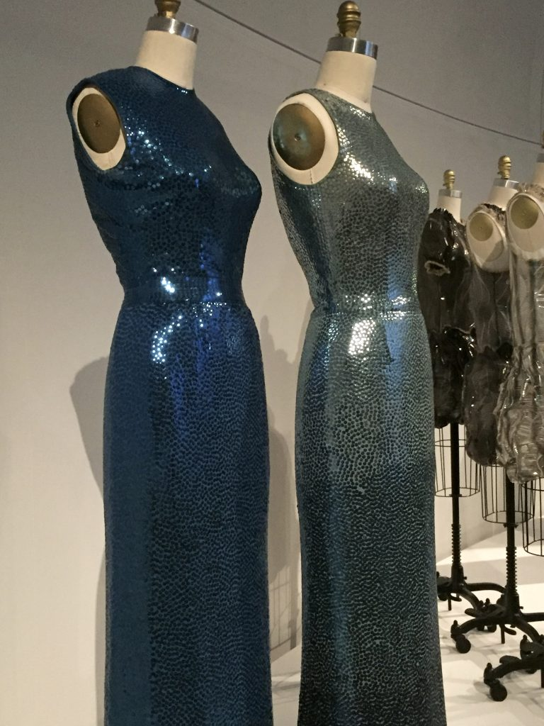 Manus x Machina - Norman Norell evening dresses, 1965, pret-a-porter, machine-sewn silk jersey, hand-embroidered with gelatin sequins, machine-finished, hand-hemmed