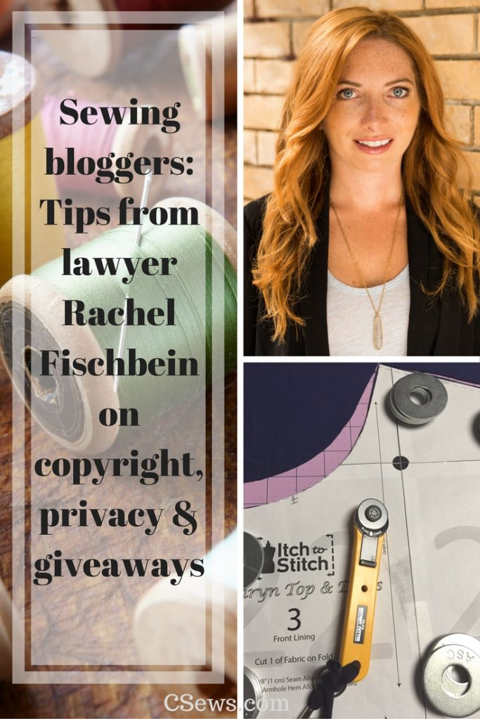 Sewing bloggers: Tips from lawyer Rachel Fischbein on copyright, privacy + giveaways