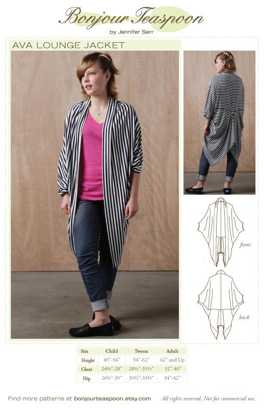 Bonjour Teaspoon - Ava Lounge Jacket sewing pattern