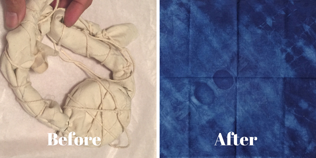 DIY Shibori - indigo dying with curtain rings and twine