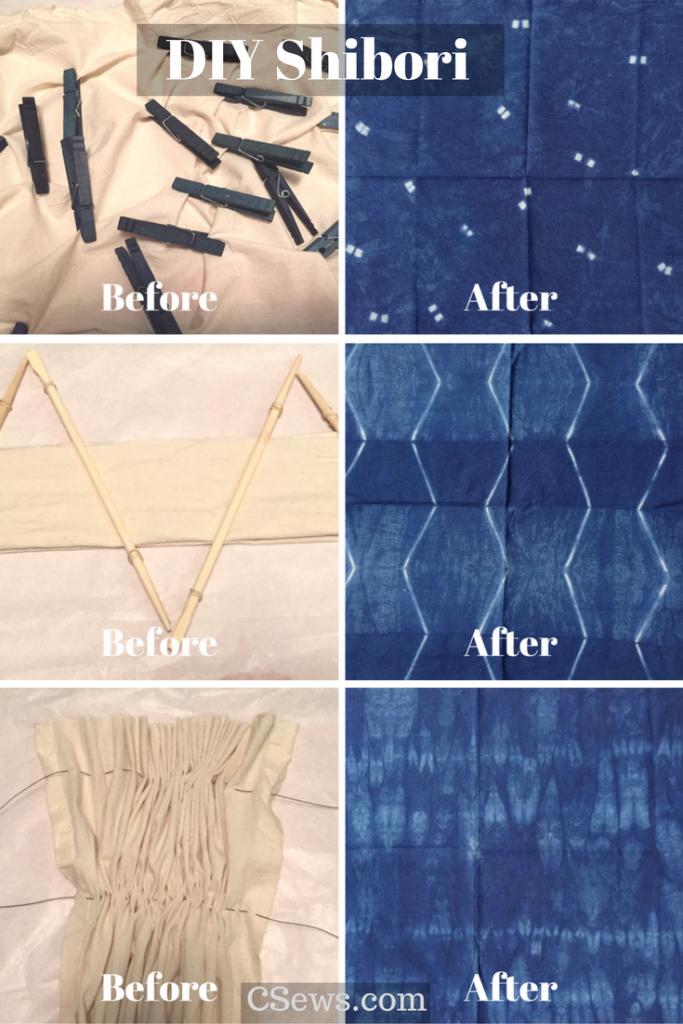 DIY Shibori - Indigo dyeing - before and after