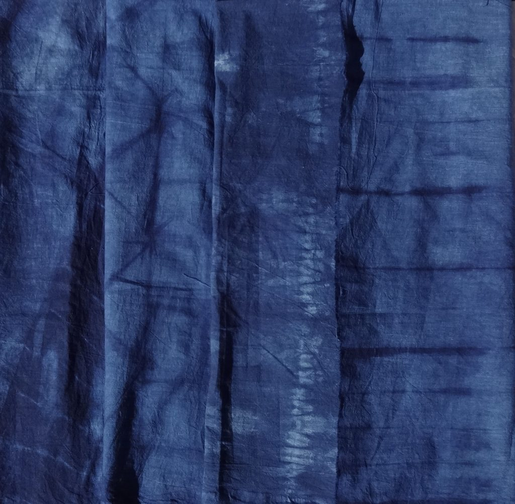 Shibori skirt fabric - indigo dyed designs
