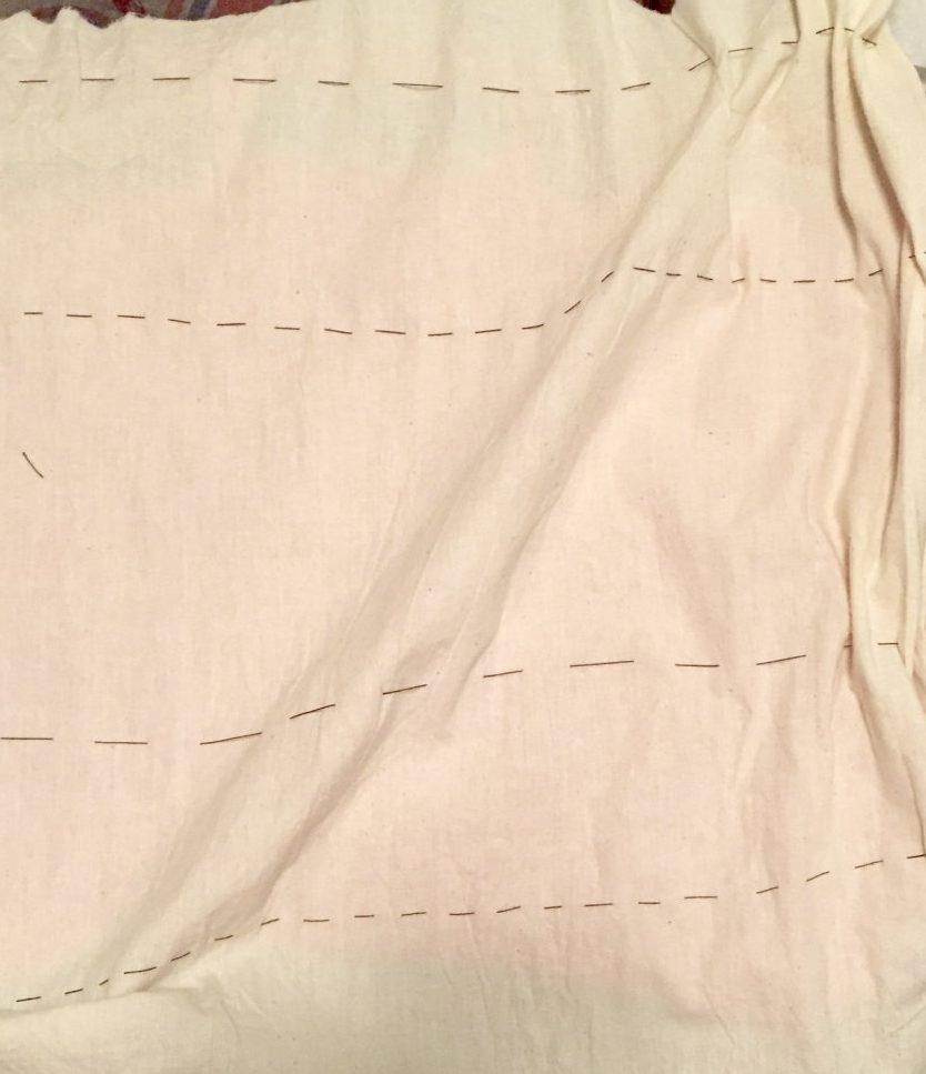 DIY Shibori - indigo dyeing - hand-basted muslin