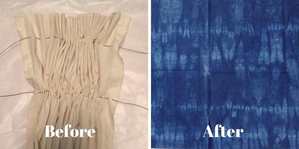 DIY Shibori - indigo dyeing - hand-basting and gathering fabric