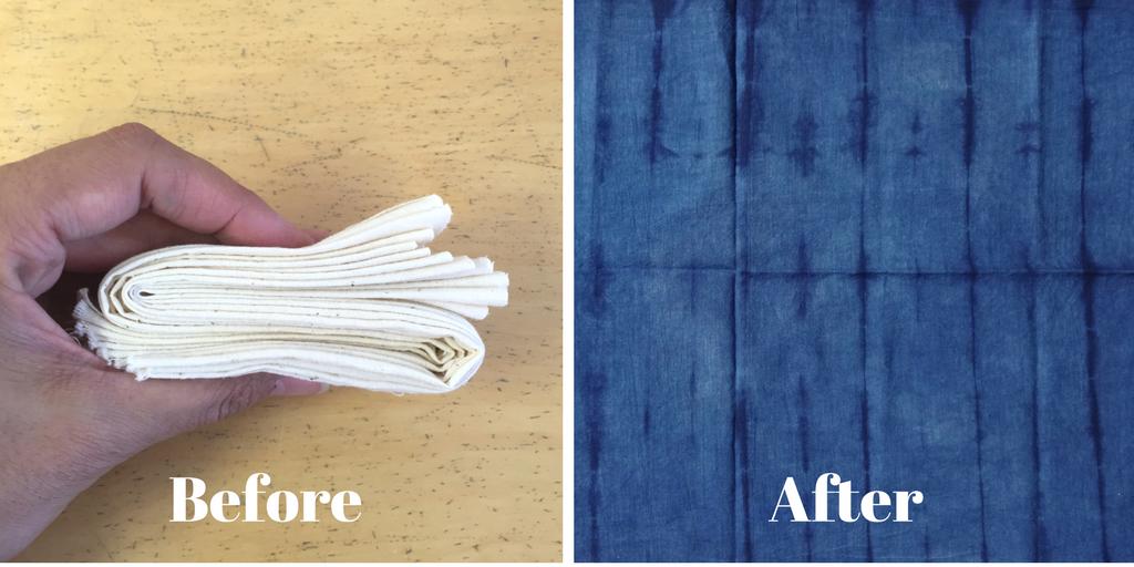 DIY Shibori - indigo dyeing - pleating and folding