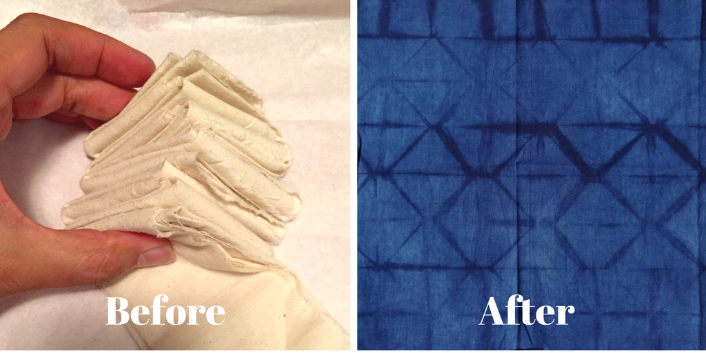 DIY Shibori - indigo dyeing - pleated and folded in triangles