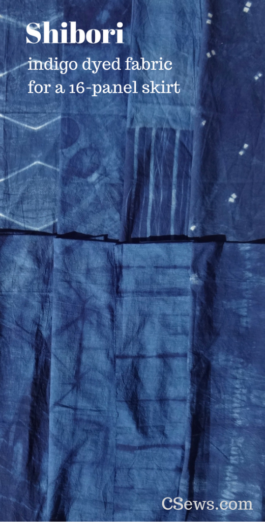 Shibori - indigo dyed fabric for a 16-panel skirt