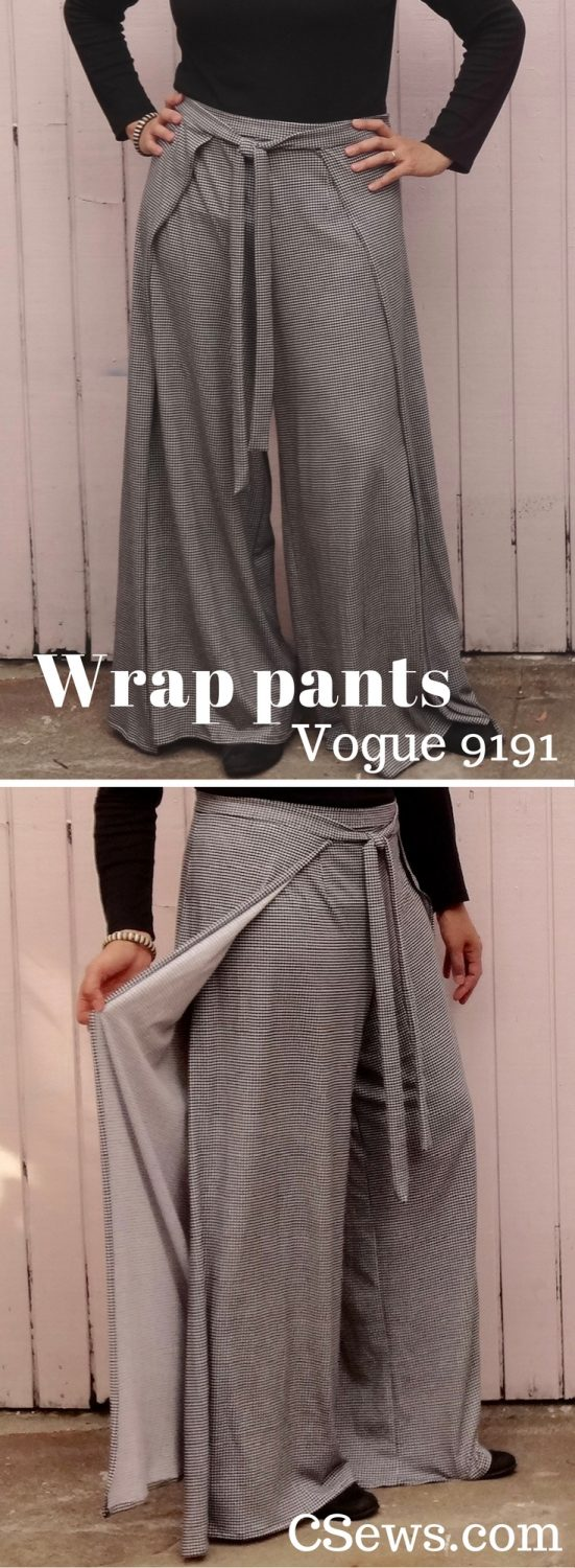 Vogue 9191 wrap pants - V9191 - jersey houndstooth fabric
