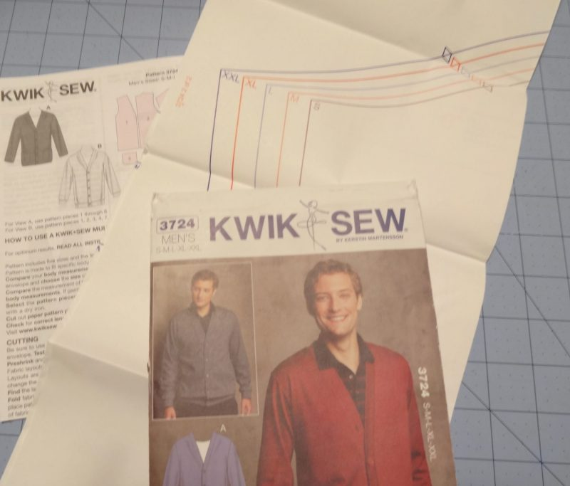 Kwik Sew men's cardigan sewing pattern 3724