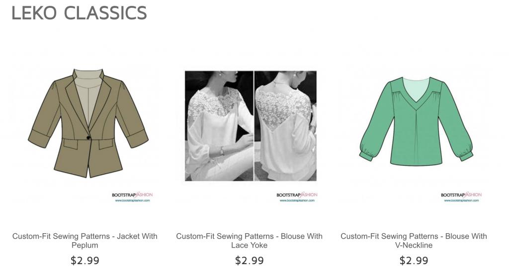 Leko sewing patterns on Bootstrap Fashion