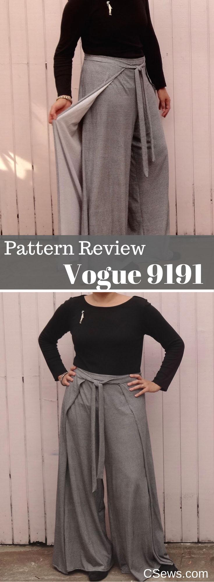 Pattern Review - Vogue 9191 wrap pants V9191