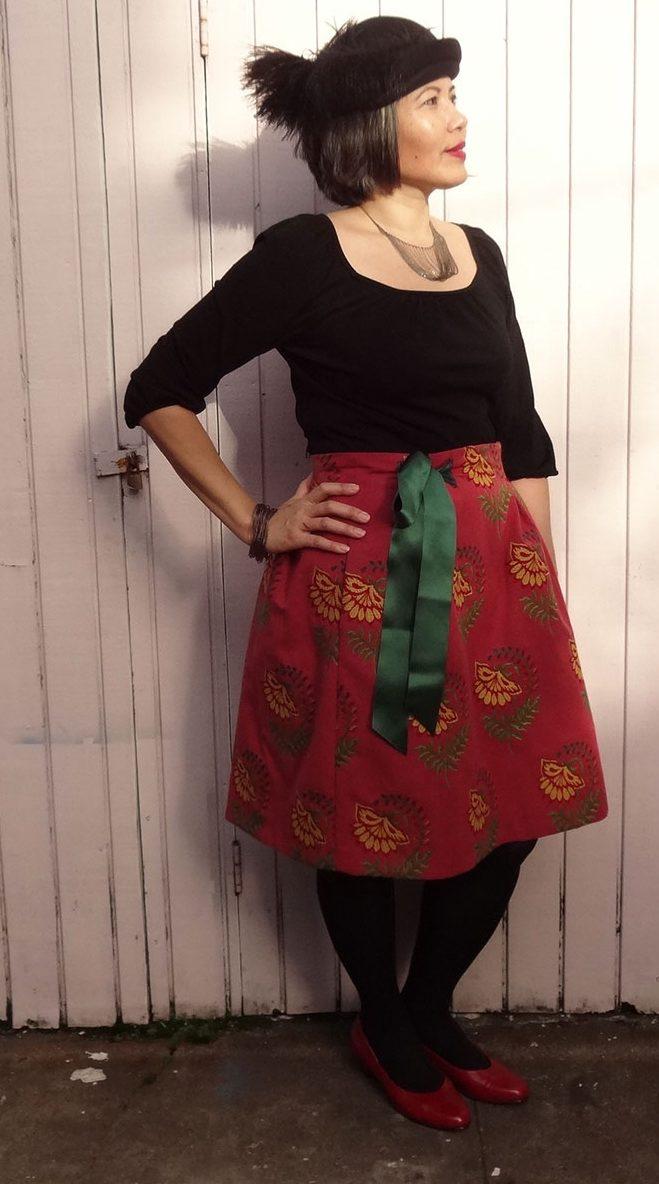 Adjustable-waist skirt - made by modifying the Deer and Doe Chardon pattern