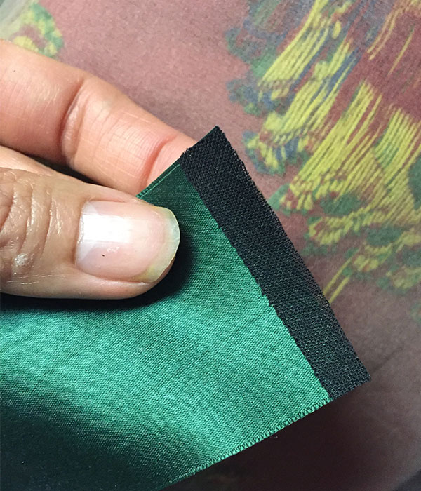 Silk ribbon reinforced with fusible bias tape