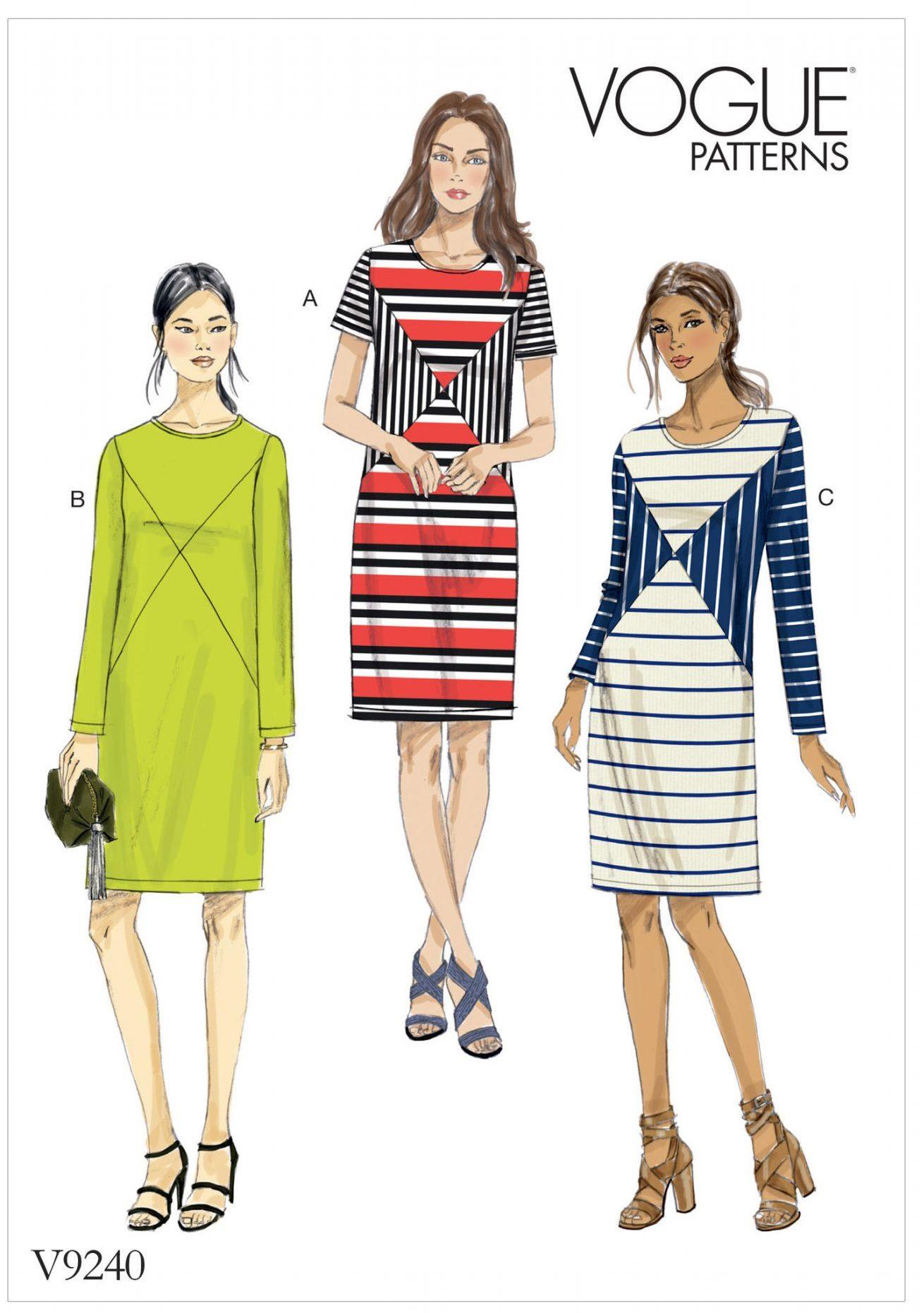 Vogue V9240 - sewing pattern - Misses' Knit Paneled Dresses