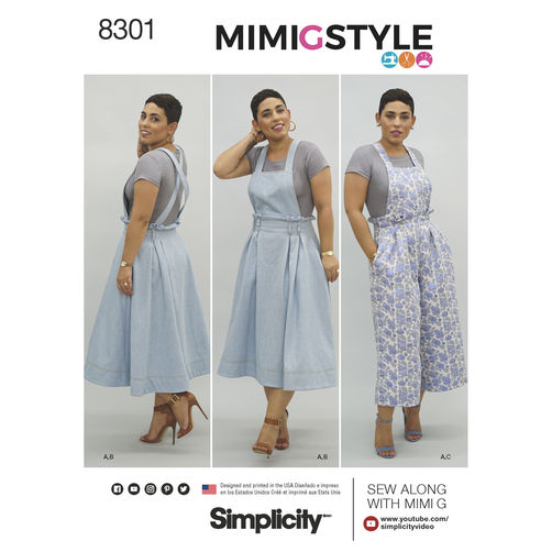 Simplicity Pattern 8301 Mimi G Style Misses' Overalls and Knit Crop Top