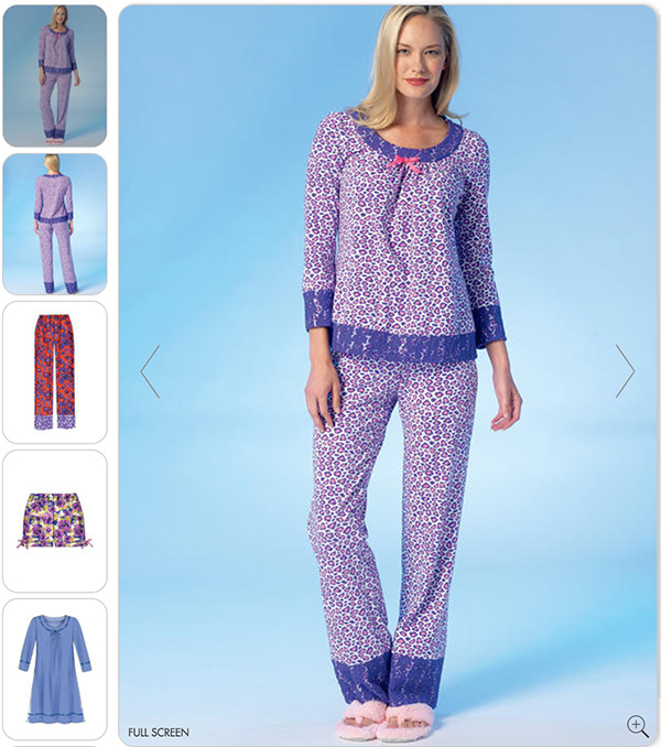 McCall's sewing pattern - M7060 - pajamas - the elastic waist makes this a good design for women with Alzheimer's to wear