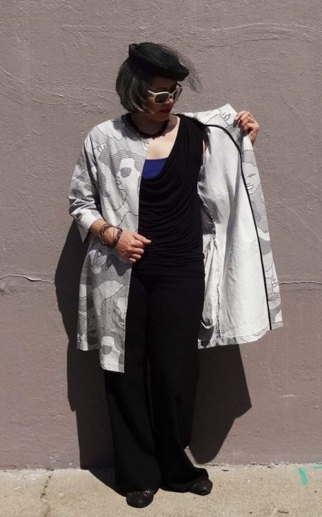 Pilvi Coat from Lotta Jansdotter Everyday Style sewing book - using fabric with ASCII art