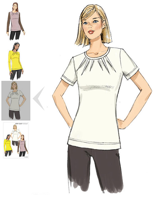 Vogue patterns - V9205 - this top with different sleeve options is a stylish option for women with Alzheimer's