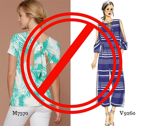 These sewing patterns wouldn't work for someone with Alzheimer's because they have too many openings and would be confusing to put on.