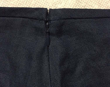 Invisible zipper installed in side seam
