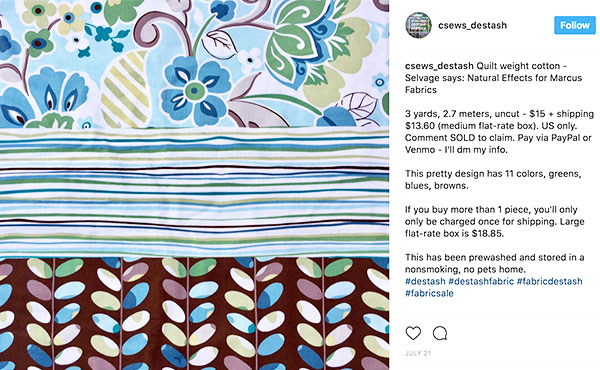 Selling destash fabric - Instagram post description