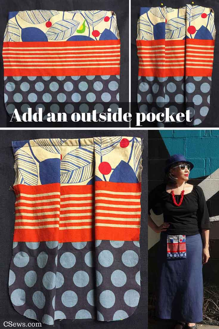 Making an outside pocket for a skirt, attaching it to the waistband - CSews.com