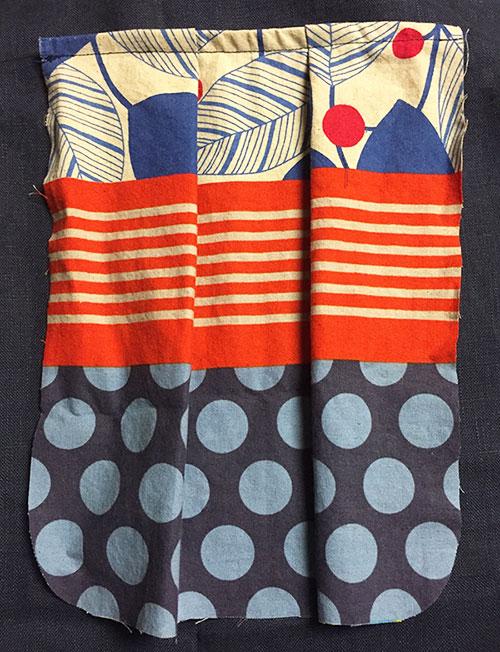 Tutorial - outside pocket - Echino fabric - CSews.com