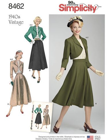 Fall sewing pattern - Simplicity 8462 - 1940 vintage sewing pattern - envelope front