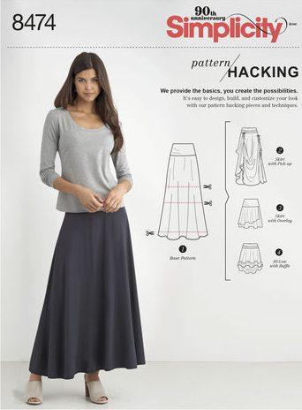 Fall sewing pattern - Simplicity 8474 - skirt pattern hack