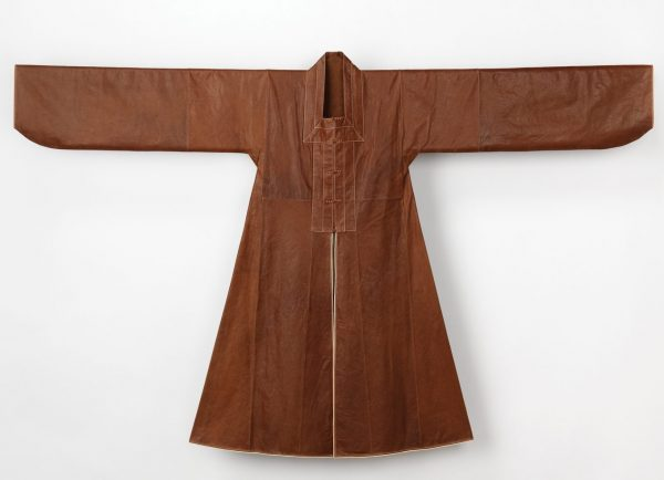 Man's coat reconstruction from late 16th to early 17the century garment, sheepskin - Couture Korea - fashion exhibit at the Asian Art Museum