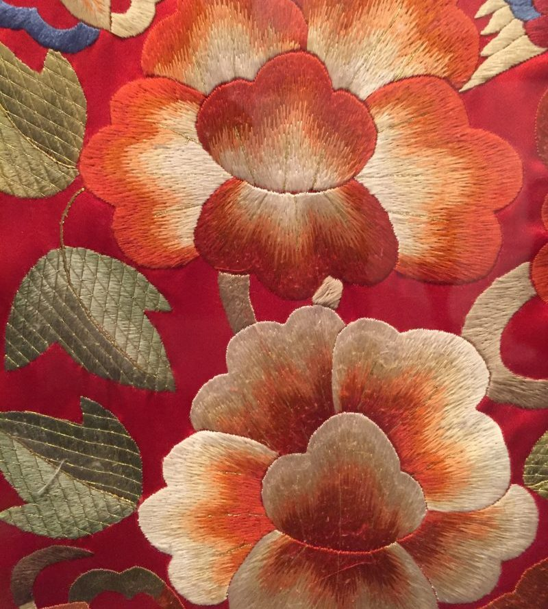 Detail of embroidered bridal robe - reconstruction based on Joseon dynasty garment - Couture Korea, fashion exhibit at the Asian Art Museum - CSews